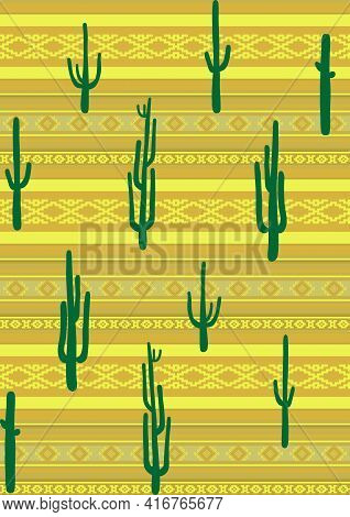 Vector Seamless Cacti Pattern. Ethnic Mexican Pattern Background. Traditional Ornamental Texture. Fo