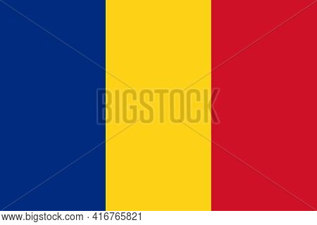 Romania Flag. Official State Symbol Of Romania With Correct Proportions And Colors. Three Equal Vert