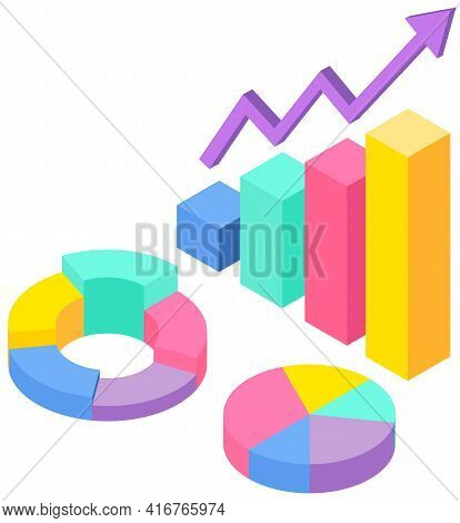 Profit Growth Indicators From Sales On Bar Chart. Statistical Data, Statistics, Sectorized Diagram