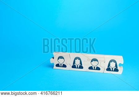 Connected Puzzles With People. Effective Business Employees Group Collectives. Personnel Leadership.