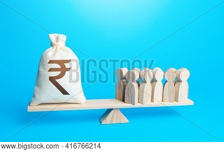 Group Of People And Indian Rupee Sterling Money Bag On Weight Scales. Staff Maintenance. Payment Of