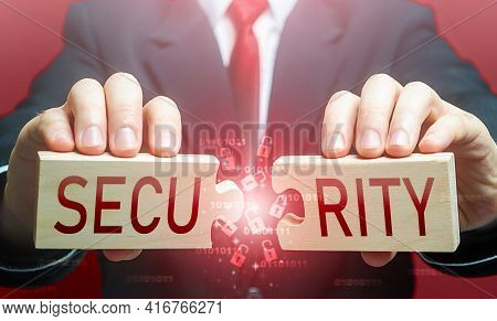 Man Breaks The Puzzle With Word Security. Security Breach, Hacker Attack And Data Leak. Bypassing Pr