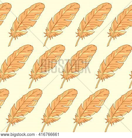 Seamless Background With Feathers. The Pattern Is Seamless. Vector Illustration. Hand-drawn. Lots Of