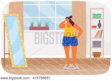 Plump Unhappy Woman Stands On Scales Opposite Mirror In Living Room At Home And Take Care Of Health