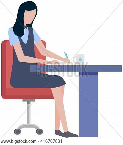 Office Woman Sitting At Desk Writes Paper Document. Business Person Or Clerk Working At Office Table