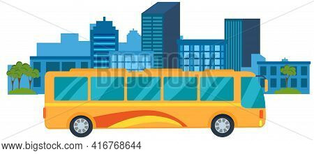 Tourist Yellow Bus With Tinted Windows Rides In Town. Public Transport For Transporting People