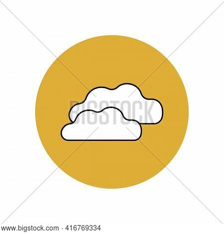 The Cloud Icon Is White With A Black Outline In A Yellow Circle. Weather Forecast. Meteorological So