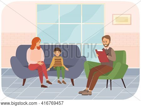 Conversation Between Mother, Child And Male Psychologist, Psychotherapist Makes Notes In Notebook