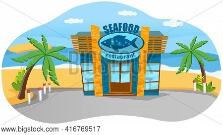 Oceanfront Seafood Restaurant On Beach, Coastline. Catering Establishment In Nautical Style