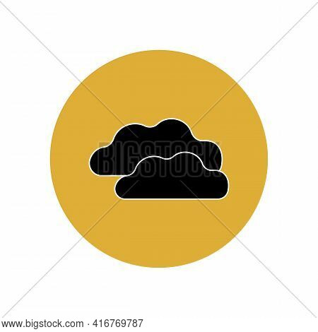 The Cloud Icon Is Black In A Yellow Circle. Weather Forecast. Meteorological Software. Real-time Wea