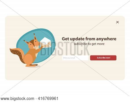 Happy Cartoon Squirrel Character Holding Envelope. Orange Little Mammal With Tail Smiling, Subscribe