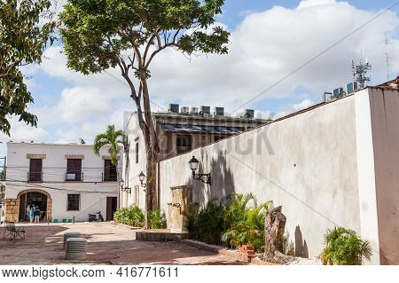 Santo Domingo, Dominican Republic - January 11, 2017: Street View Of Santo Domingo. Ordinary People