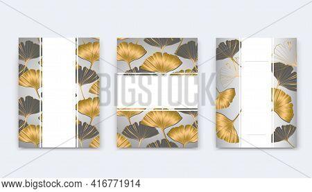 Vector Banner Summer Tropical Flyer Design With Leaves Of Ginkgo Biloba. Ink Line Art Design.