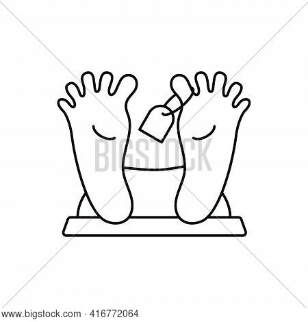 Morgue Line Icon. Pair People Foot With Tag. Dead Body Sign. Linear Human Footprints. Vector Isolate