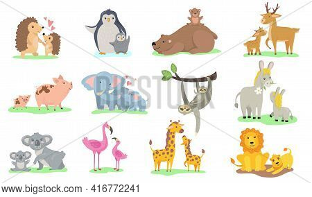 Bright Little Animals With Their Moms Flat Pictures Collection. Cartoon Cute Penguin, Elephant, Gira