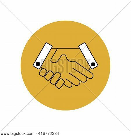 Handshake Icon With Black Outline In A Yellow Circle. Business Agreement In Business. Friendship And