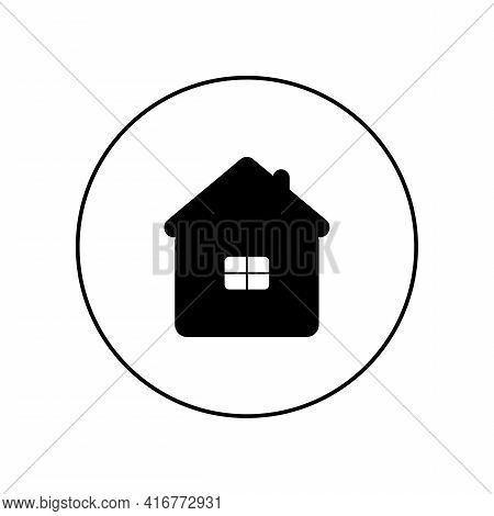 Black House Icon In A White Circle. Travel To A Tourist Destination. Overnight At The Hotel, Hostel.
