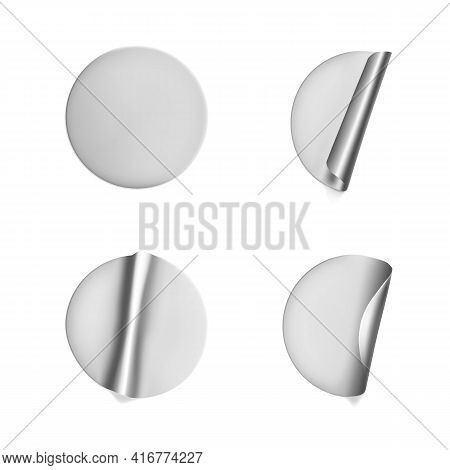 Silver Round Crumpled Stickers With Peeling Corner Mock Up Set. Adhesive Silver Foil Or Plastic Stic