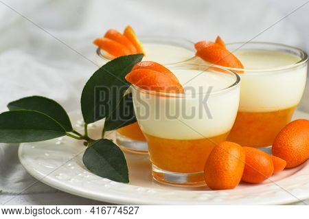 Tasty Italian Dessert Panna Cotta With Mandarin Jelly On White Background.