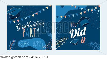 Graduation Party Vector Background, Dark Invite Card Template. You Did It Text Quote. Graduate Desig