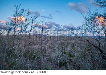 High Up At A Lookout Viewpoint In The Tennessee Mountains With The Sun Setting Highlighting The Clou