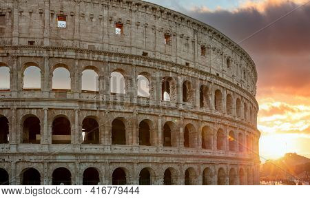 Rome, Italy. The Colosseum Or Coliseum At Sunset