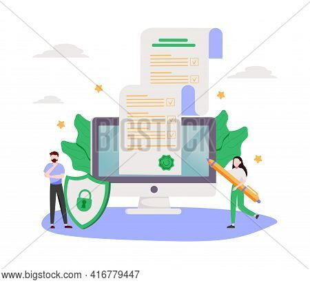 Business Contract Signing. Corporate Document. Agreement Checking. Data Protection. Terms And Condit