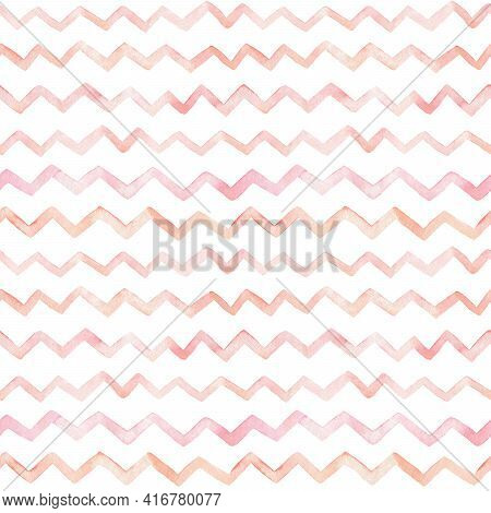 Watercolor Seamless Zigzag Pattern. Abstract Striped Background In Pastel Colors. Hand-drawn Illustr