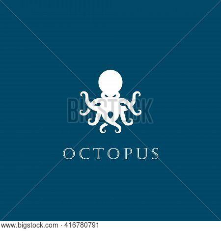 Octopus Logo Design Symbol Template Flat Style Vector Illustration