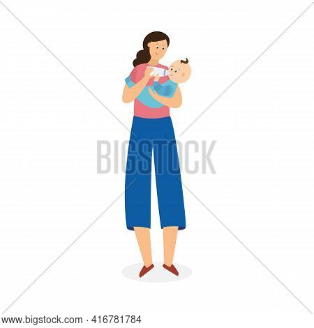 Cartoon Mother Giving Baby A Milk Bottle - Happy Parent And Child