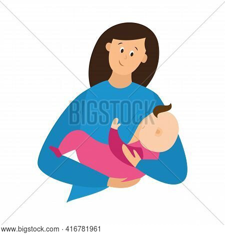 Woman Feeds Baby With Milk Breast, Hold In Comfortable Breastfeeding Pose.