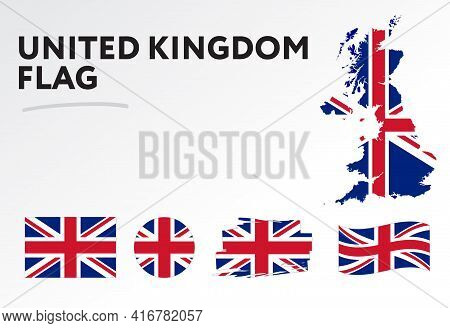 Various Designs Of The United Kingdom Flag And Map. World Flags. Vector Set. Circle Icon. Brush Stro