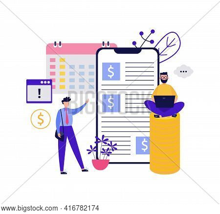 Financial Consultation Or Tax Advising Banner Flat Vector Illustration Isolated.