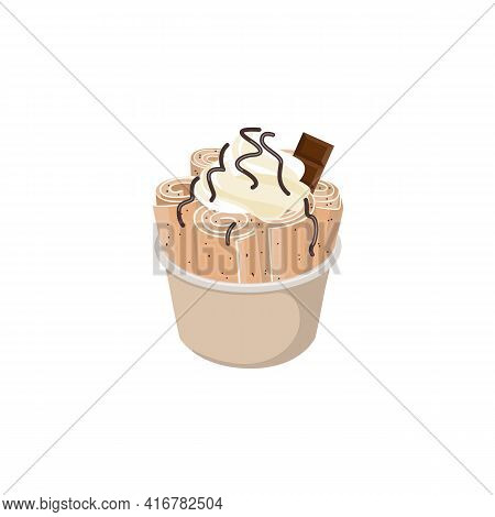 Thai Stir-fried Ice Cream With Piece Of Chocolate, Vector Illustration Isolated.