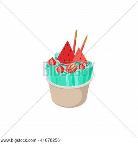 Mint Stir-fried Ice Cream With Fruits, Flat Vector Illustration Isolated.