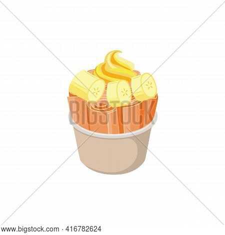 Stir-fried Ice Cream Rolls In Cup With Banana Flat Vector Illustration Isolated.