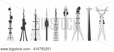 Set Of Telecommunication Connection Towers Flat Vector Illustration Isolated.
