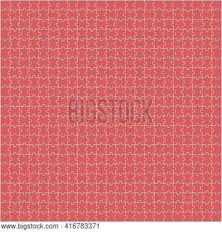 Puzzle Background, Banner, Blank. Vector Template. Background With Puzzle Frame, Mosaic Illustration
