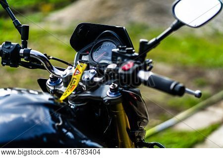 Detail Of Black Motorcycle. Honda Hornet Motorcycle Detail Photo In Bucharest, Romania, 2021