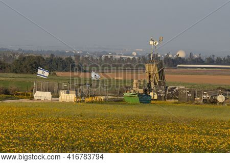 Negev, Israel - March 13th, 2021: An Iron Dome Anti Rocket Battery, Deployed In A Flower Field In Th