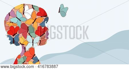Autism Syndrome Concept. Puzzle Of Butterflies That Forms A Child's Head In Profile. Learning Suppor