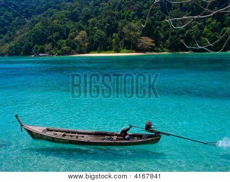 Long-Tail Boat At Surin Island, Thailand