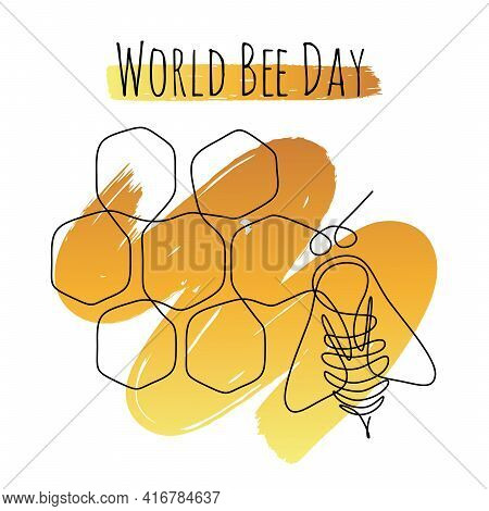 World Bee Day Web Banner In One Line Drawing Style. Bumblebee Insect On Top Of A Honeycombs Backgrou