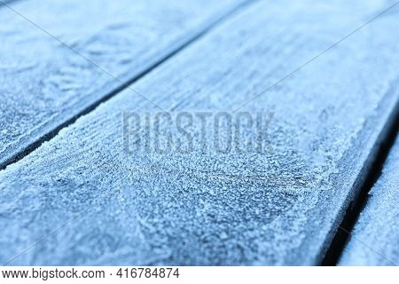 Beautiful Hoarfrost On Wooden Surface, Closeup View