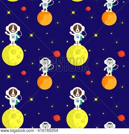 A Dog And A Cat Are Astronauts On The Planets. Space Pattern Illustration With Planets And Astronaut