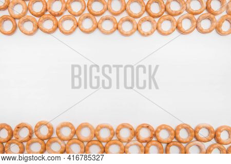 Bagels Snack Or Drying Bagels Isolated On White Background, Copy Space, Mock Up.