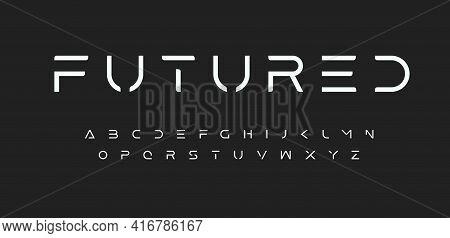 Modern Futured Alphabet. Cutting-edge Sci-fi, Space, Futuristic Font. Minimalist Modular Style Lette