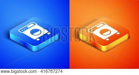 Isometric Washer Icon Isolated On Blue And Orange Background. Washing Machine Icon. Clothes Washer -