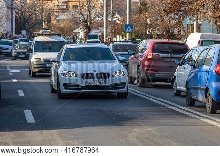 Cars In Traffic Car Traffic At Rush Hour In Downtown Area Of Targoviste, Romania, 2020