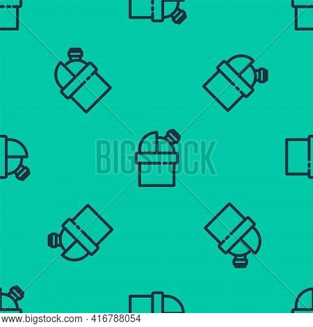 Blue Line Astronomical Observatory Icon Isolated Seamless Pattern On Green Background. Observatory W
